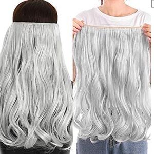 "Silver Gray Wavy Curly 20"" Hair Halo Extension"